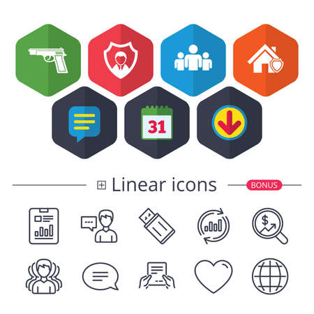 Calendar, Speech bubble and Download signs. Security agency icons. Home shield protection symbols. Gun weapon sign. Group of people or Share. Chat, Report graph line icons. More linear signs. Vector