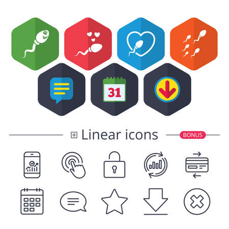 Calendar, Speech bubble and Download signs. Sperm icons. Fertilization or insemination signs. Safe love heart symbol. Chat, Report graph line icons. More linear signs. Editable stroke. Vector