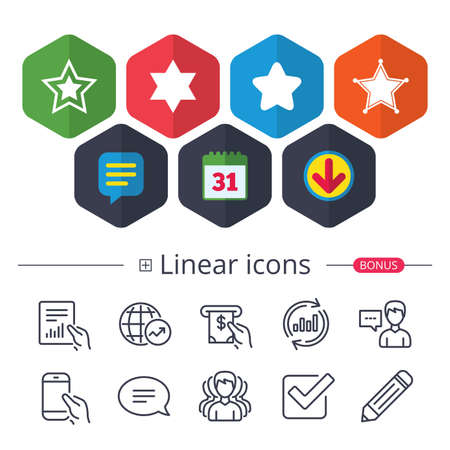 Calendar, Speech bubble and Download signs. Star of David icons. Sheriff police sign. Symbol of Israel. Chat, Report graph line icons. More linear signs. Editable stroke. Vector Illustration