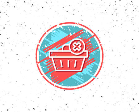 Grunge button with symbol. Remove Shopping cart line icon. Online buying sign. Supermarket basket symbol. Random background. Vector Иллюстрация