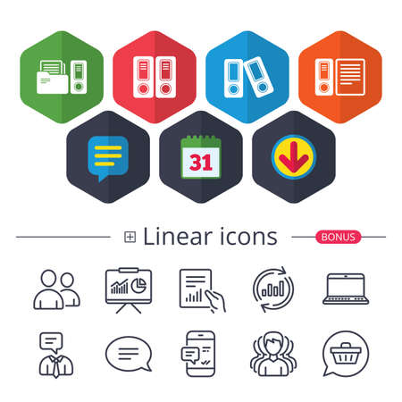 Calendar, Speech bubble and Download signs. Accounting icons. Document storage in folders sign symbols. Chat, Report graph line icons. More linear signs. Editable stroke. Vector