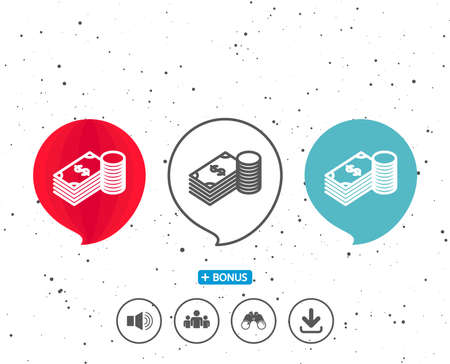 Speech bubbles with symbol. Cash money line icon. Banking currency sign. Dollar or USD symbol. Bonus with different classic signs. Random circles background. Vector Ilustrace