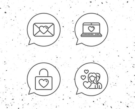 Speech bubbles with signs. Love mail, Couple communication and Romantic Heart line icons. Valentines day and Notebook with love, Locker signs. Grunge background. Editable stroke. Vector