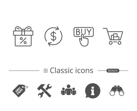 Shopping cart, Discount Box and Sale icons.