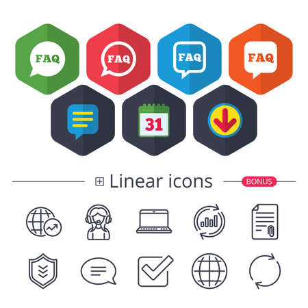 Calendar, Speech bubble and Download signs. FAQ information icons. Help speech bubbles symbols. Circle and square talk signs. Chat, Report graph line icons. More linear signs. Editable stroke. Vector Фото со стока - 91105068