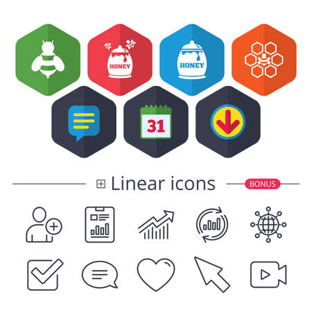 Calendar, Speech bubble and Download signs. Honey icon. Honeycomb cells with bees symbol. Sweet natural food signs. Chat, Report graph line icons. More linear signs. Editable stroke. Vector