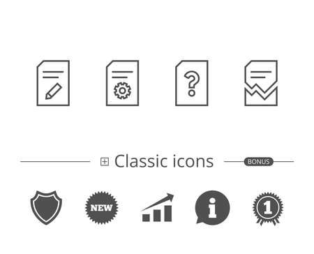 Document, Edit and Corrupt file line icons. Document Management, Question mark and Service signs. Information speech bubble sign. And more signs. Editable stroke. Vector