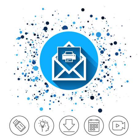 サークルの背景にボタン。メール印刷アイコン。封筒のシンボル。メッセージの署名。メールのナビゲーション ボタン。カレンダー ライン アイコ