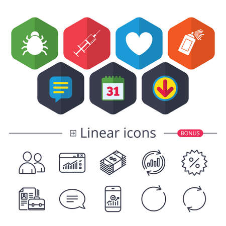 Calendar, Speech bubble and Download signs. Bug and vaccine syringe injection icons. Heart and spray can sign symbols. Chat, Report graph line icons. More linear signs. Editable stroke. Vector