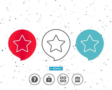 Speech bubbles with symbol. Star line icon. Best rank sign. Bookmark or Favorite symbol. Bonus with different classic signs. Random circles background. Vector Ilustrace
