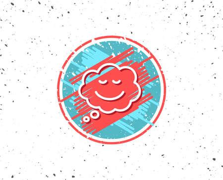 グランジ ボタン シンボルです。笑顔線アイコン漫画吹き出し。チャット感情のサイン。ランダムなバック グラウンド。ベクトル