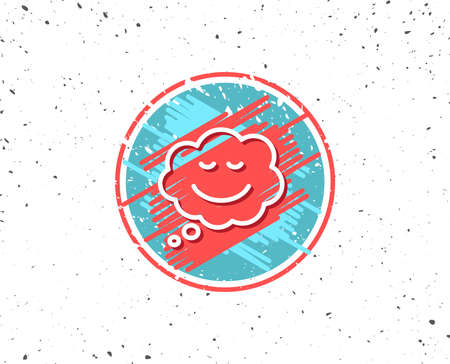 Grunge button with symbol. Comic speech bubble with Smile line icon. Chat emotion sign. Random background. Vector