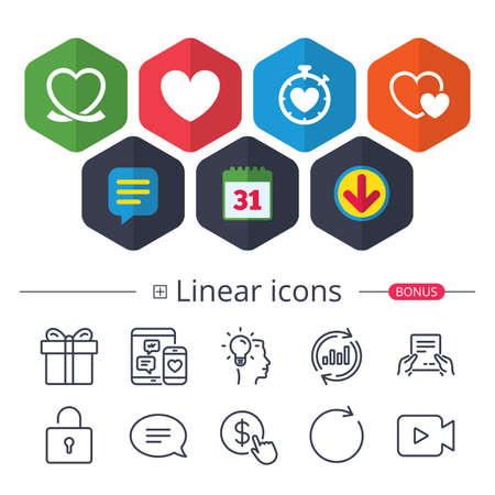 Calendar, Speech bubble and Download signs. Heart ribbon icon. Timer stopwatch symbol. Love and Heartbeat palpitation signs. Chat, Report graph line icons. More linear signs. Editable stroke. Vector