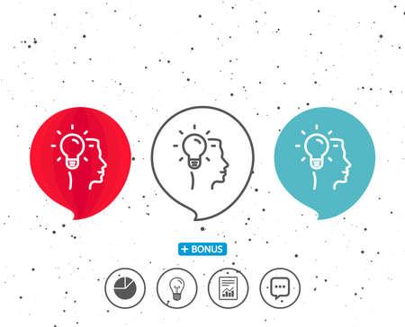 연설 거품 기호입니다. 비즈니스 아이디어 아이콘입니다. 전구 기호입니다. 인간의 머리 기호입니다. 다른 고전적인 표시가있는 보너스. 무작위 서클