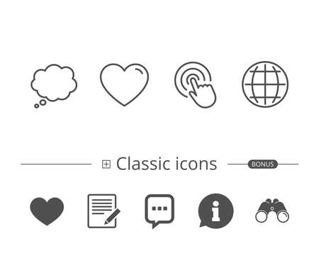 Globe internet, Speech bubble and Click line icons. Heart or Love sign. Information speech bubble sign. And more signs. Editable stroke. Vector