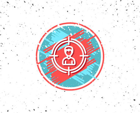 Grunge button with symbol. Head hunting line icon. Business target or Employment sign. Random background. Vector