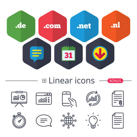 Calendar, Speech bubble and Download signs. Top-level internet domain icons. De, Com, Net and Nl symbols. Unique national DNS names. Chat, Report graph line icons. More linear signs. Editable stroke