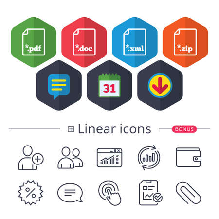 Calendar, Speech bubble and Download signs. Download document icons. File extensions symbols. PDF, ZIP zipped, XML and DOC signs. Chat, Report graph line icons. More linear signs. Editable stroke Illustration