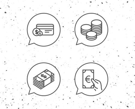 Speech bubbles with signs. Money, Cash and Currency line icons. Banking, Credit card and Coins signs. Euro and Dollar symbols. Grunge background. Editable stroke. Vector