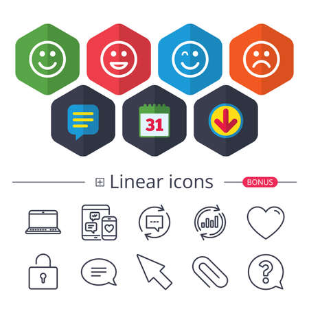 Calendar, Speech bubble and Download signs. Smile icons. Happy, sad and wink faces symbol. Laughing lol smiley signs. Chat, Report graph line icons. More linear signs. Editable stroke. Vector