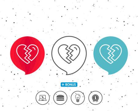 記号付きの音声バブル。ラブラインアイコンを分割します。離婚の兆候バレンタインデーのシンボル。異なる古典的な兆候を持つボーナス。ランダ