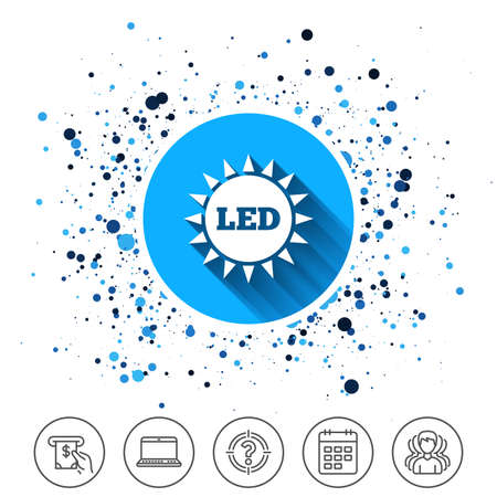 Button on circles background. Led light sun icon. Energy symbol. Calendar line icon. And more line signs. Random circles. Editable stroke. Vector Illustration