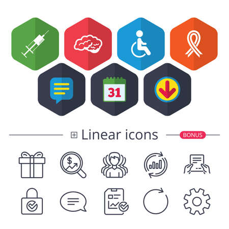 Calendar, Speech bubble and Download signs. Medicine icons. Syringe, disabled, brain and ribbon signs. Breast cancer awareness symbol. Handicapped invalid. Chat, Report graph line icons. Vector