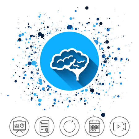 Button on circles background. Brain with cerebellum sign icon. Human intelligent smart mind. Calendar line icon. And more line signs. Random circles. Editable stroke. Vector Çizim