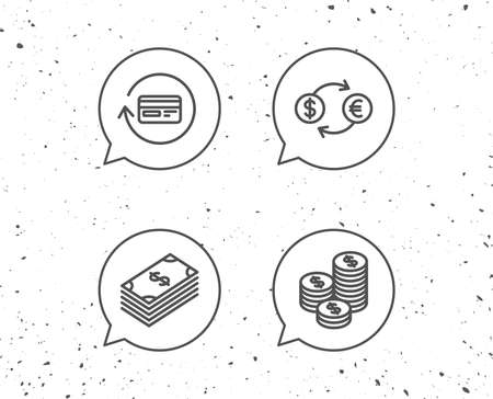 Speech bubbles with signs. Money, Cash and Currency exchange line icons. Credit card, Banking and Coins signs. Euro and Dollar symbols. Grunge background. Editable stroke. Vector