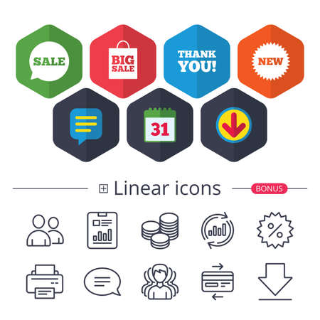 Calendar, Speech bubble and Download signs. Sale speech bubble icon. Thank you symbol. New star circle sign. Big sale shopping bag. Chat, Report graph line icons. More linear signs. Editable stroke