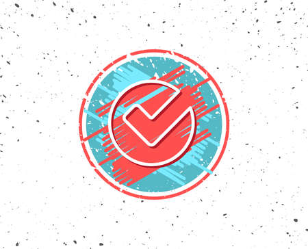 Grunge button with symbol. Check line icon. Approved Tick sign. Confirm, Done or Accept symbol. Random background. Vector Stock Vector - 91616430