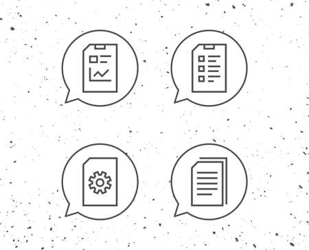 Speech bubbles with signs. Document, Report and Checklist line icons. Document Management, Copy and Service signs. Grunge background. Editable stroke. Vector