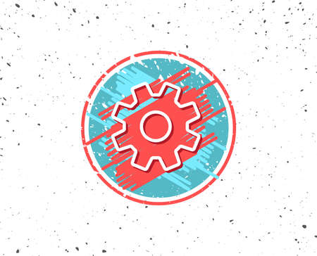 Grunge button with symbol. Cogwheel line icon. Service sign. Transmission Rotation Mechanism symbol. Random background. Vector Illustration