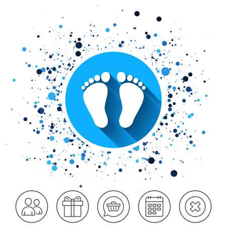 円の背景のボタン。フットプリント記号アイコンの子ペア。幼児裸足のシンボル。カレンダー行アイコン。そして、より多くのラインサイン。ラン  イラスト・ベクター素材