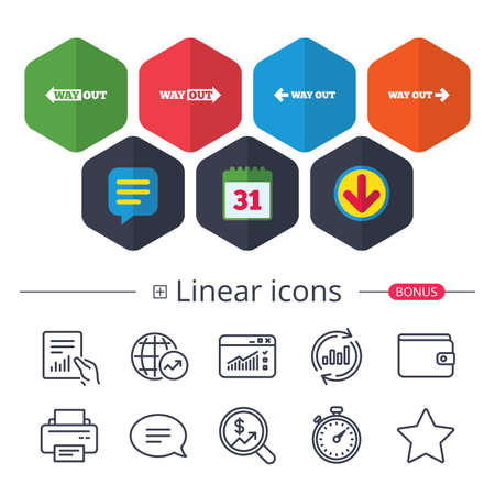Calendar, Speech bubble and Download signs. Way out icons. Left and right arrows symbols. Direction signs in the subway. Chat, Report graph line icons. More linear signs. Editable stroke. Vector