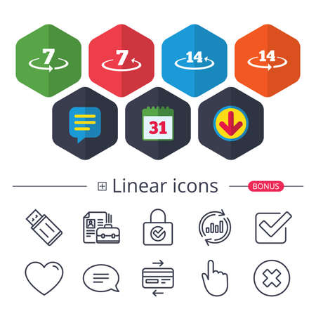 Calendar, Speech bubble and Download signs. Return of goods within 7 or 14 days icons. Warranty 2 weeks exchange symbols. Chat, Report graph line icons. More linear signs. Editable stroke. Vector