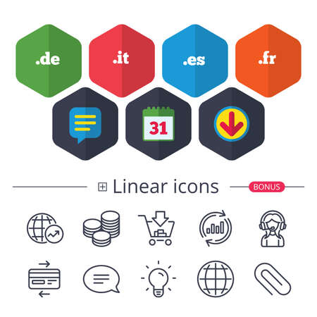 Calendar, Speech bubble and Download signs. Top-level internet domain icons. De, It, Es and Fr symbols. Unique national DNS names. Chat, Report graph line icons. More linear signs. Editable stroke