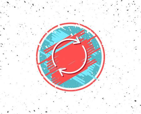 Grunge-knop met symbool. Lijnpictogram vernieuwen. Rotatie pijlteken. Reset of herlaad symbool. Willekeurige achtergrond. Vector Stock Illustratie