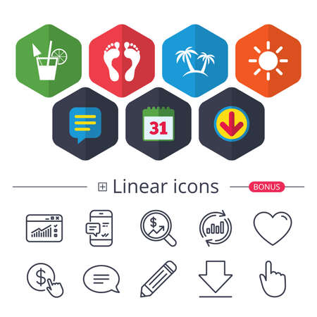Calendar, Speech bubble and Download signs. Beach holidays icons. Cocktail, human footprints and palm trees signs. Summer sun symbol. Chat, Report graph line icons. More linear signs. Editable stroke