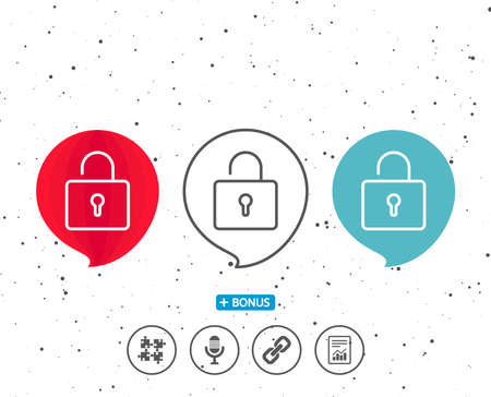 Speech bubbles with symbol. Lock line icon. Private locker sign. Password encryption symbol. Bonus with different classic signs. Random circles background. Vector Reklamní fotografie - 91616492
