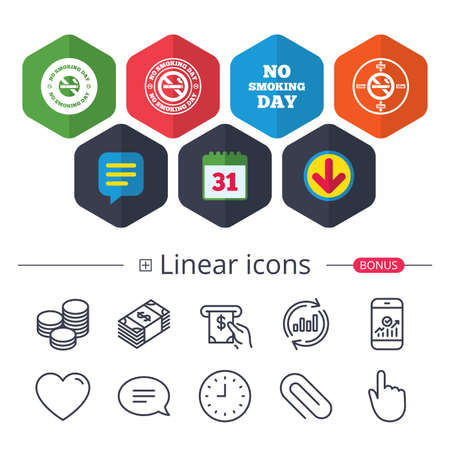 Calendar, Speech bubble and Download signs. No smoking day icons. Against cigarettes signs. Quit or stop smoking symbols. Chat, Report graph line icons. More linear signs. Editable stroke. Vector