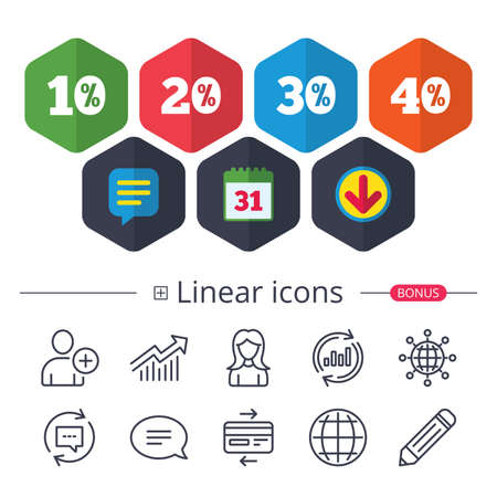 Calendar, Speech bubble and Download signs. Sale discount icons. Special offer price signs. 10, 20, 30 and 40 percent off reduction symbols. Chat, Report graph line icons. More linear signs. Vector
