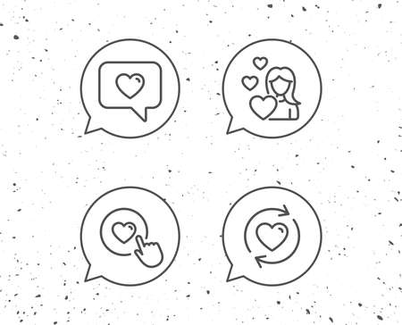 Speech bubbles with signs. Love chat, Refresh relationships and Romantic Heart line icons. Valentines day and Heart in speech bubble signs. Grunge background. Editable stroke. Vector Иллюстрация