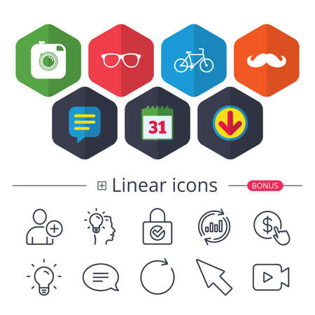 Calendar, Speech bubble and Download signs. Hipster photo camera with mustache icon. Glasses symbol. Bicycle family vehicle sign. Chat, Report graph line icons. More linear signs. Editable stroke Illustration