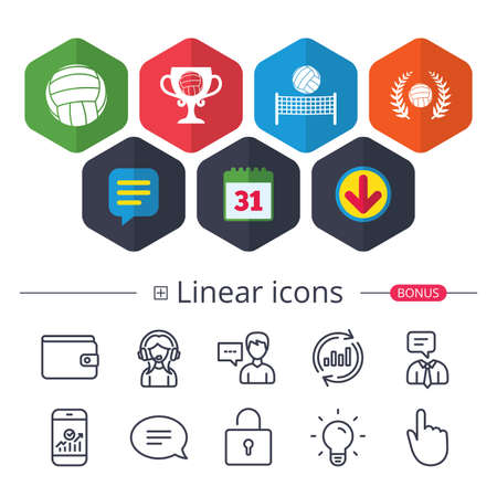 Calendar, Speech bubble and Download signs. Volleyball and net icons. Winner award cup and laurel wreath symbols. Beach sport symbol. Chat, Report graph line icons. More linear signs. Editable stroke