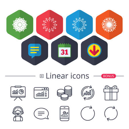 Calendar, Speech bubble and Download signs. Snowflakes artistic icons. Air conditioning signs. Christmas and New year winter symbols. Frozen weather. Chat, Report graph line icons. More linear signs