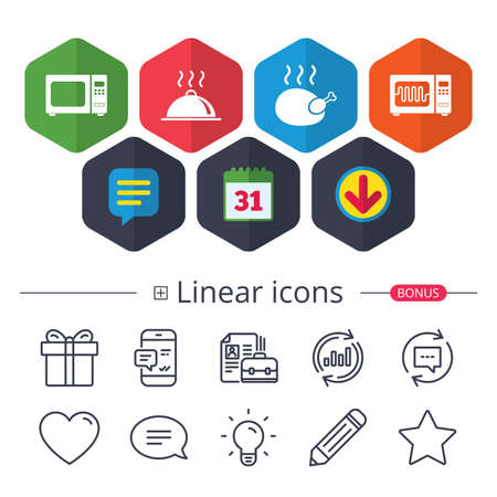 Calendar, Speech bubble and Download signs. Microwave grill oven icons. Cooking chicken signs. Food platter serving symbol. Chat, Report graph line icons. More linear signs. Editable stroke. Vector