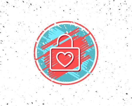 Grunge button with symbol. Locker with Heart line icon. Love symbol. Valentines day or Wedding sign. Random background. Vector