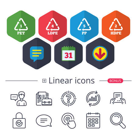 Calendar, Speech bubble and Download signs. PET 1, Ld-pe 4, PP 5 and Hd-pe 2 icons. High-density Polyethylene terephthalate sign. Recycling symbol. Chat, Report graph line icons. More linear signs