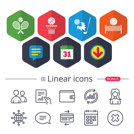 Calendar, Speech bubble and Download signs. Tennis rackets with ball. Basketball basket. Volleyball net with ball. Golf fireball sign. Sport icons. Chat, Report graph line icons. More linear signs